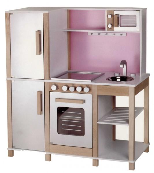 Sun Spieleküche, Buchenholz, Natur Beere-Rosa mit Mikrowelle
