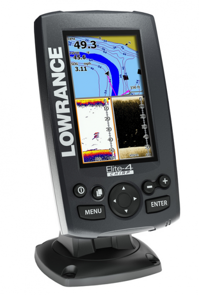 "LOWRANCE Elite-4 Chirp Color GPS Fishfinder 4,3"" mit 83/200/455/800 kHz Geber"