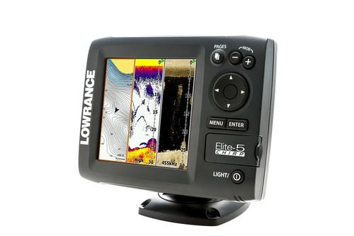 """LOWRANCE Elite-5 Chirp Color GPS Fishfinder 5"""" mit 50/200/455/800 kHz Geber"""